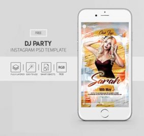DJ Party Free Instagram Post & Stories Template