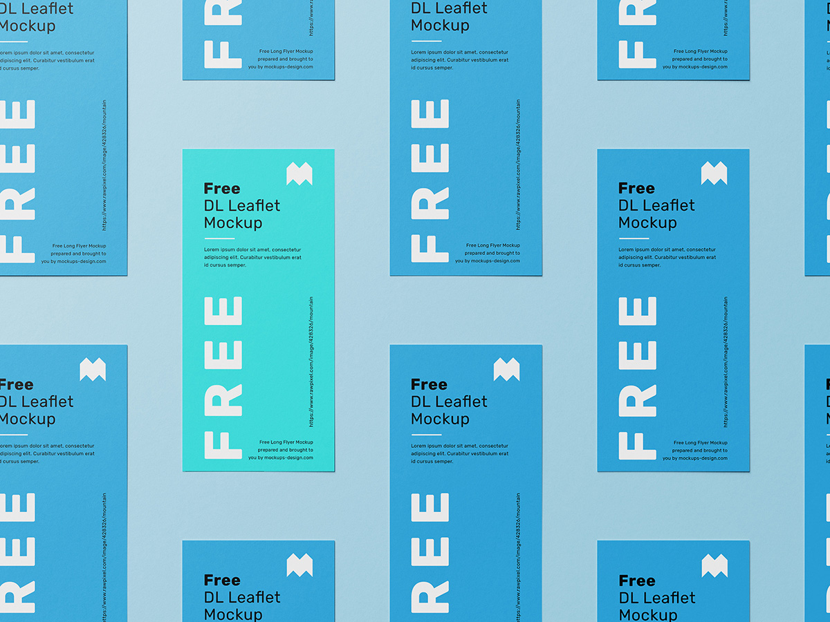 DL Leaflet Grid Free Mockup Set