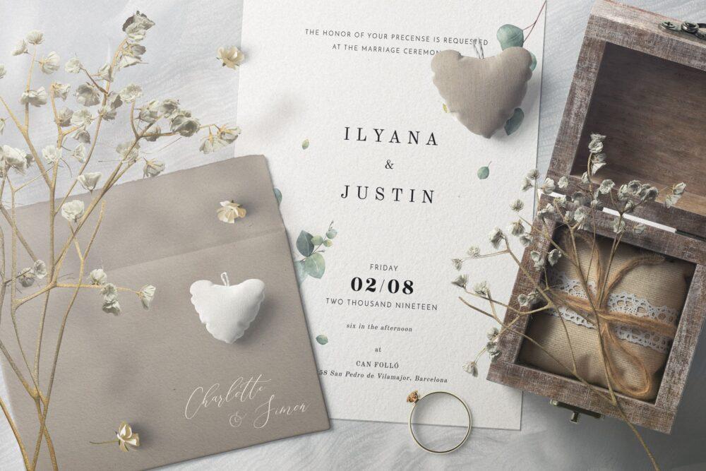 Elegant Envelope & Invitation Free Mockup Scene