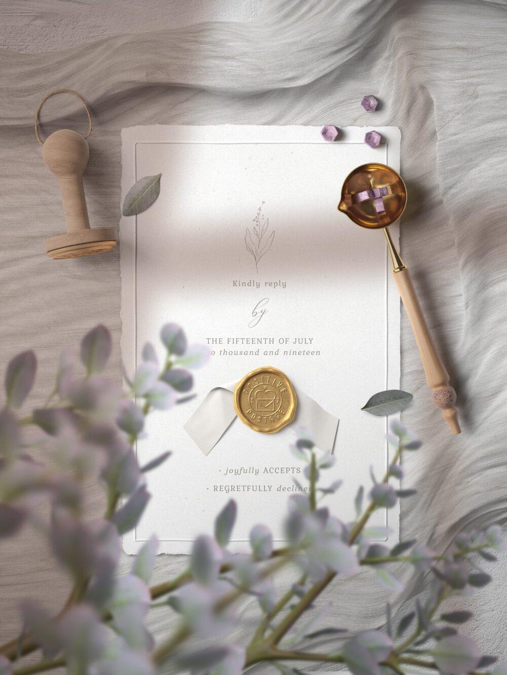 Elegant Invitation with Stamp Free Mockup