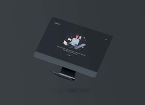 Floating iMac Flat Screen Free Mockup