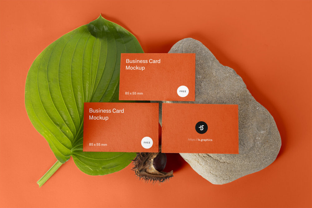 Floral Three Business Cards Freebie Mockup