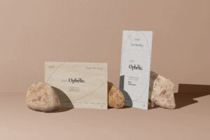 Flyer & Card in Stones Free Mockup