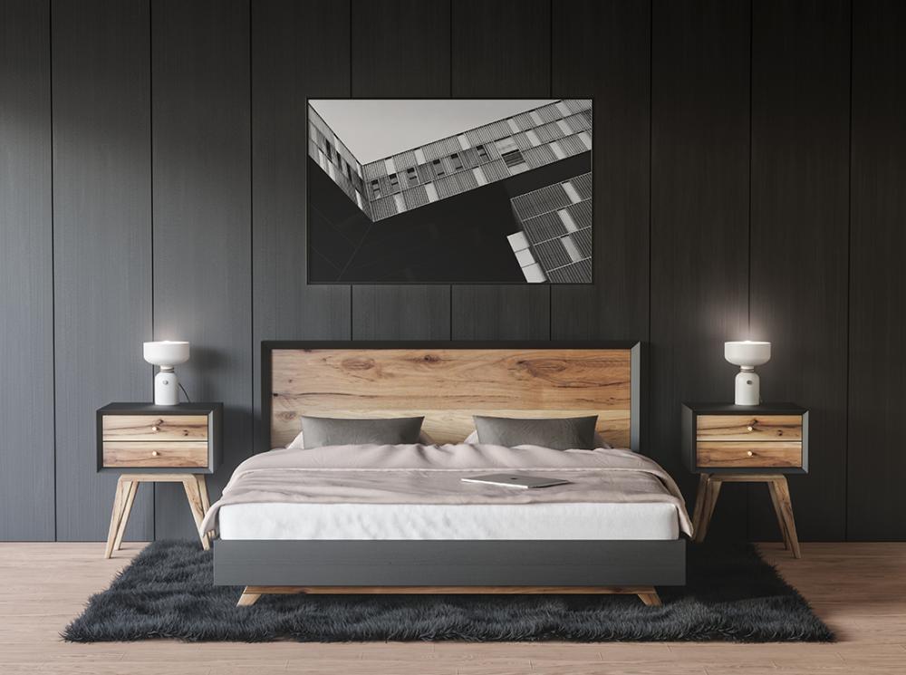 Framed Poster on Bedroom Wall Free Mockup