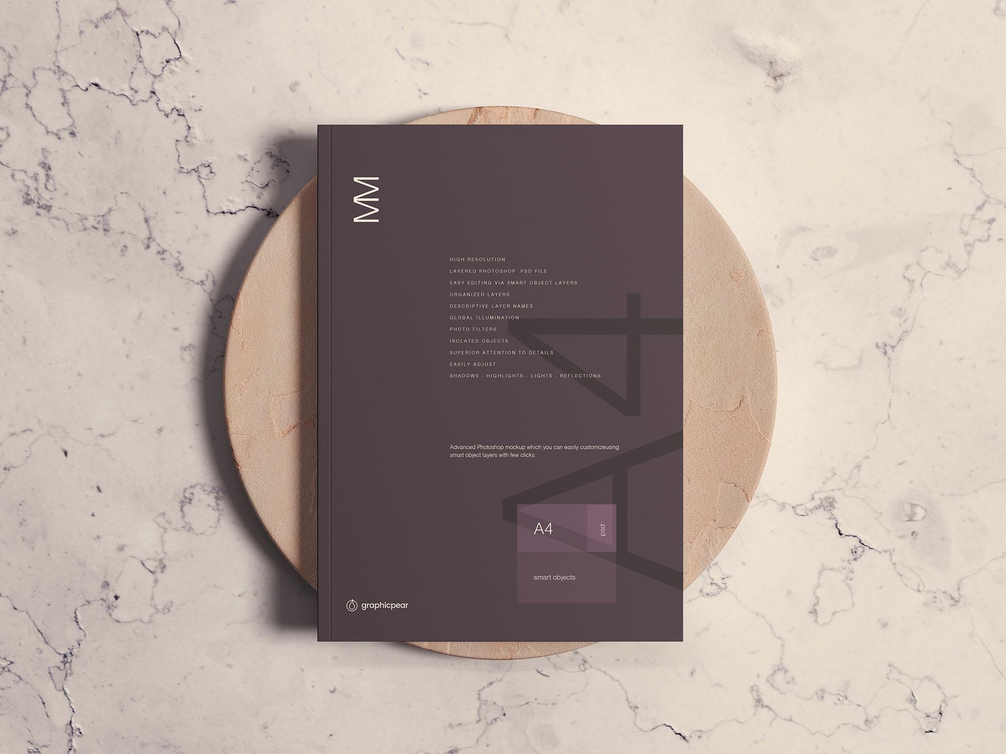 Free A4 Magazine Cover Mockup (PSD)