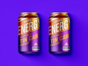 Free Beverage Tin Cans Mockup