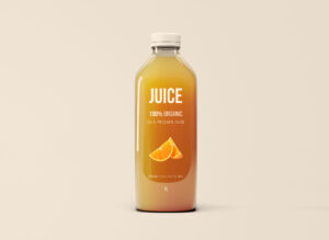 Free Big Glass Juice Bottle Mockup (PSD)