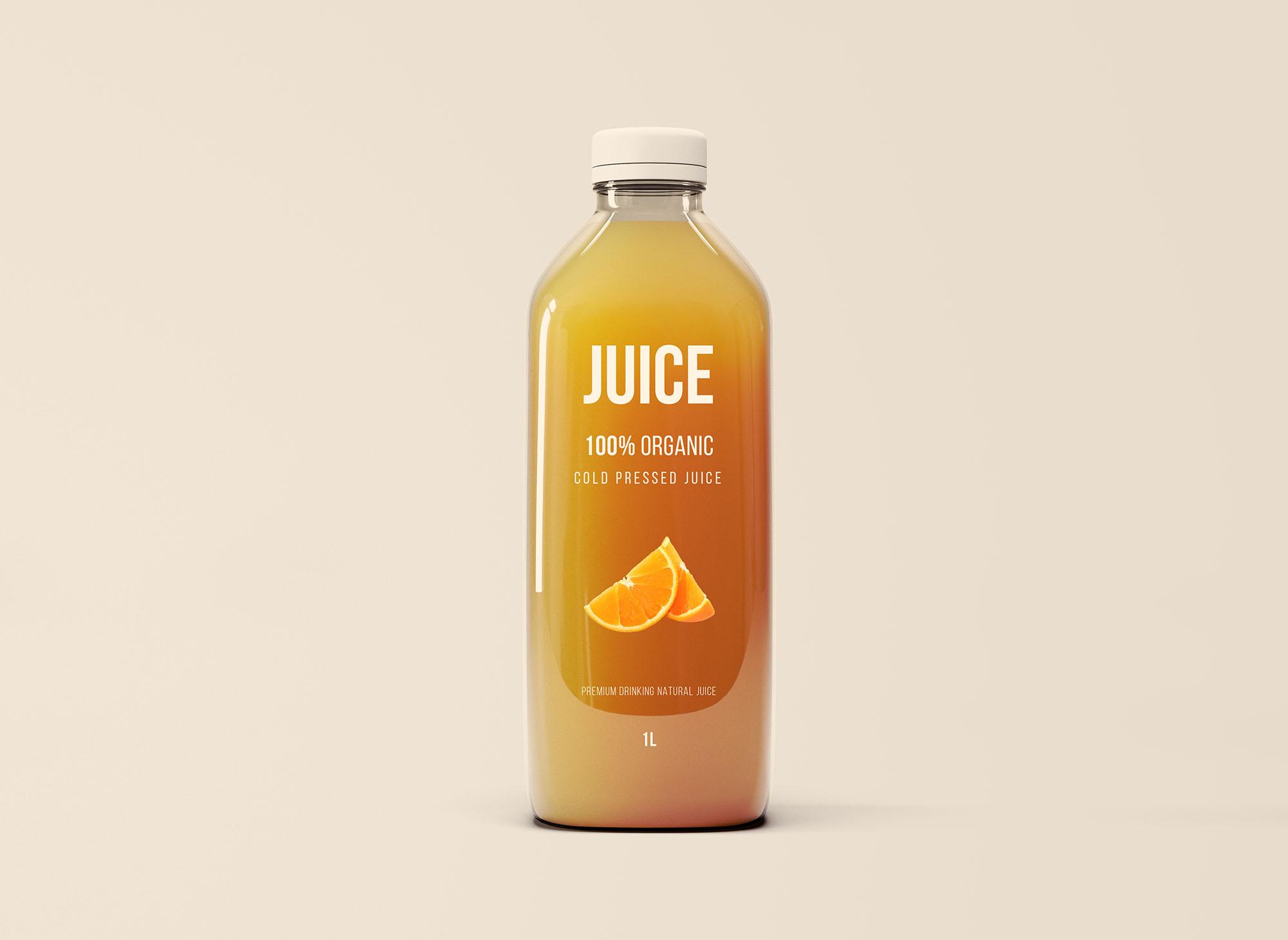 Free Big Glass Juice Bottle Mockup (PSD)
