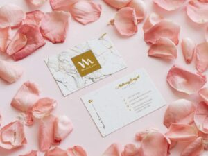 Free Business Card with Pink Rose Petal Mockup