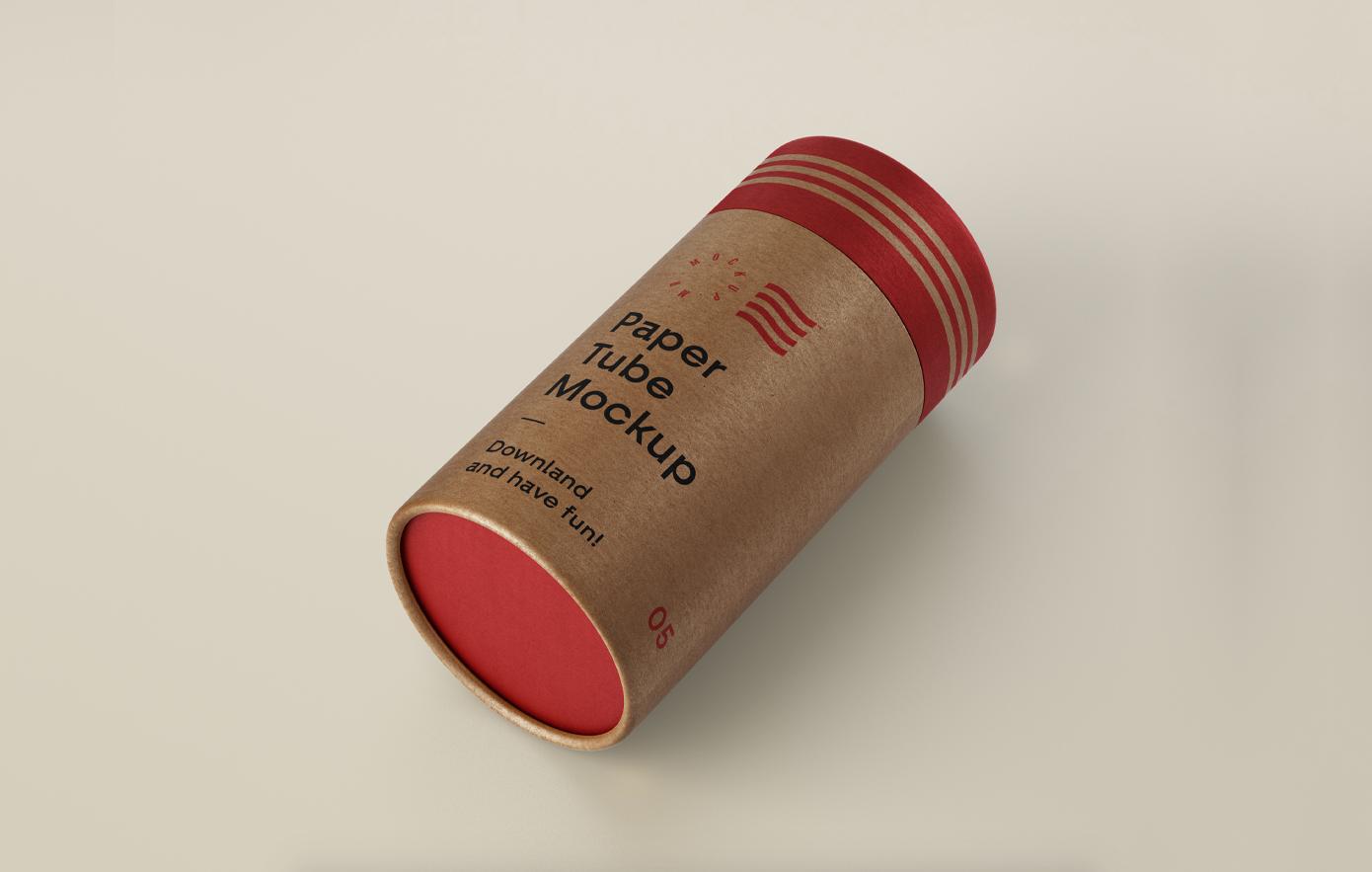 Free Cardboard Tube Mockup (PSD)