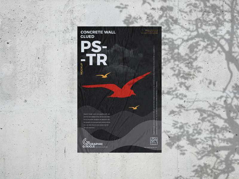 Free Concrete Wall Poster Mockup
