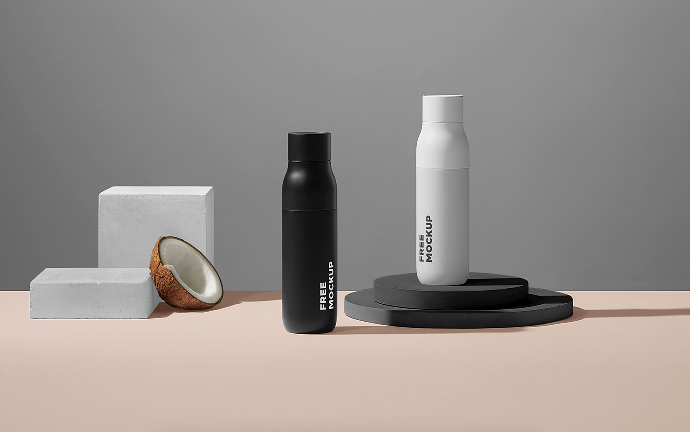 Free Cosmetic Bottle Packages Mockup (PSD)