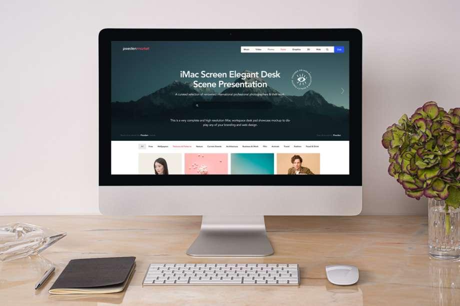 Free Desk iMac Mockup Scene