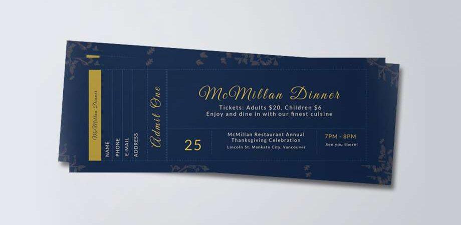 Free Dinner Ticket PSD Template