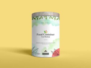 Free Food Container Can Mockup