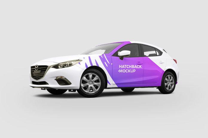 Free Hatchback Car Mockup
