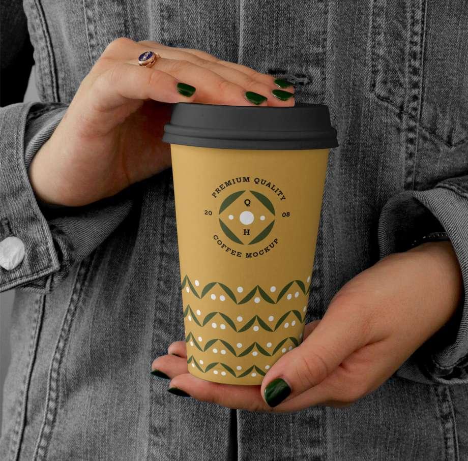 Free Holding Big Coffee Cup Mockup