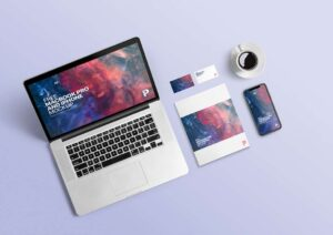 Free MacBook Pro with iPhone Mockup