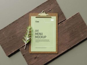 Free Menu on Wood Mockup Scene