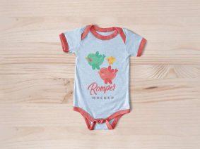 Free Newborn Baby Romper Bodysuit Mockup
