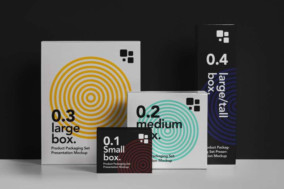 Free Packaging Box Mockup Set (PSD)