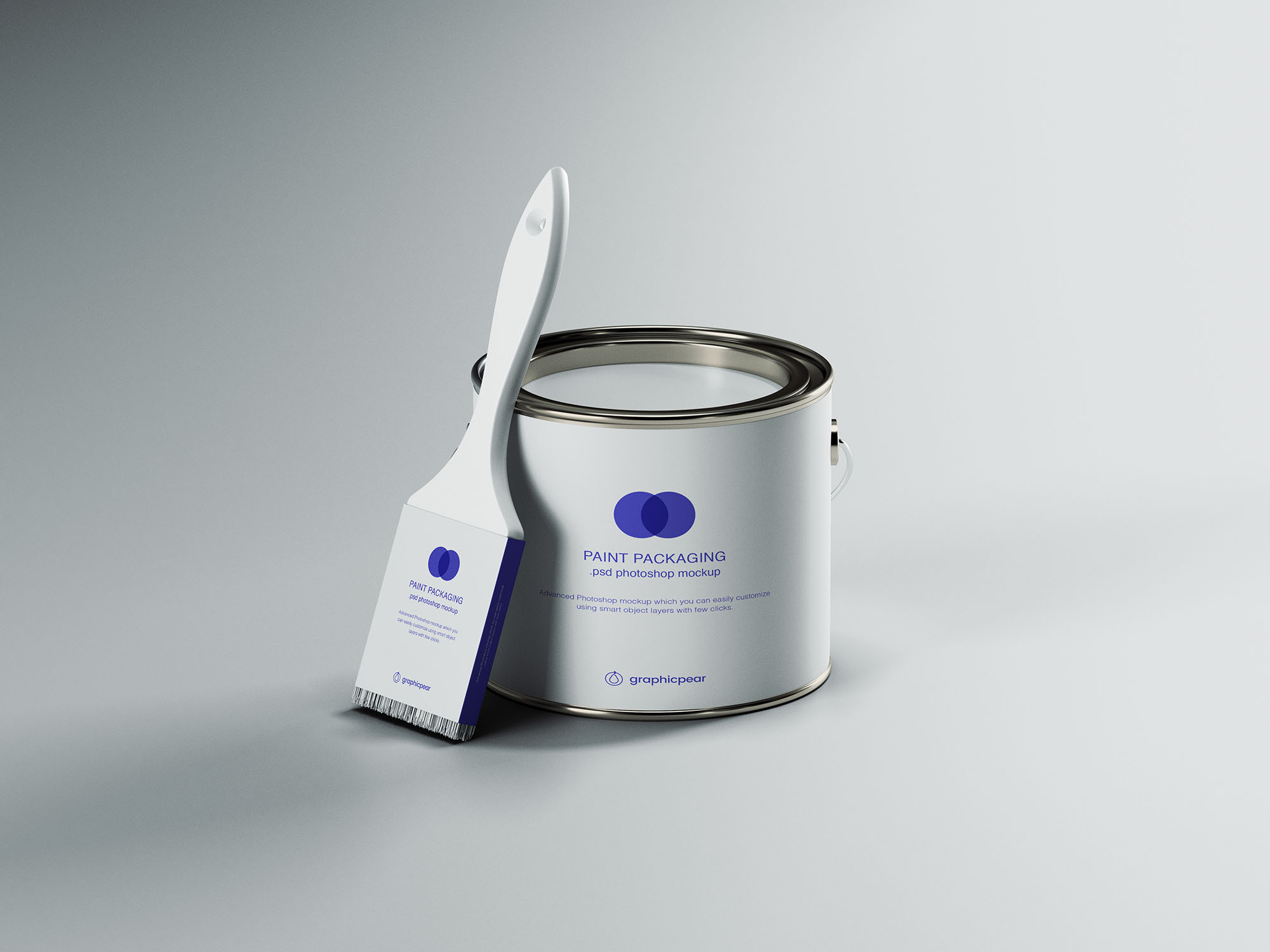 Free Paint Can & Brush Packaging Mockup (PSD)