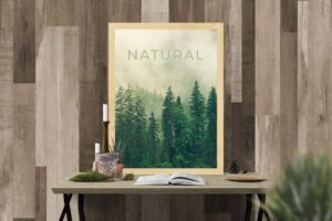 Free Poster in Wood Frame Mockup (PSD)