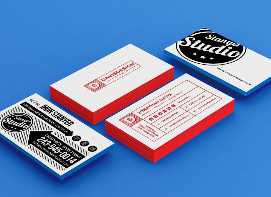 Free Stack of Business Card Mockup
