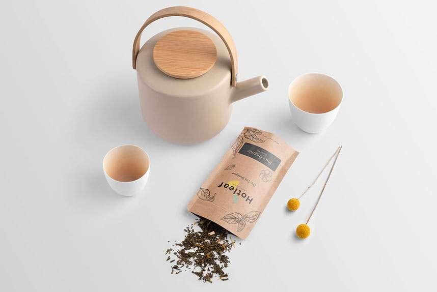 Free Tea Cup & Packaging Mockup