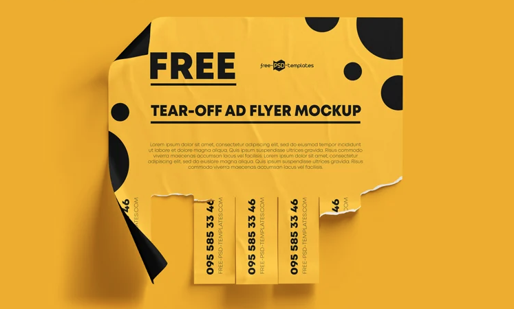 Free Tear-Off Ad Mockup