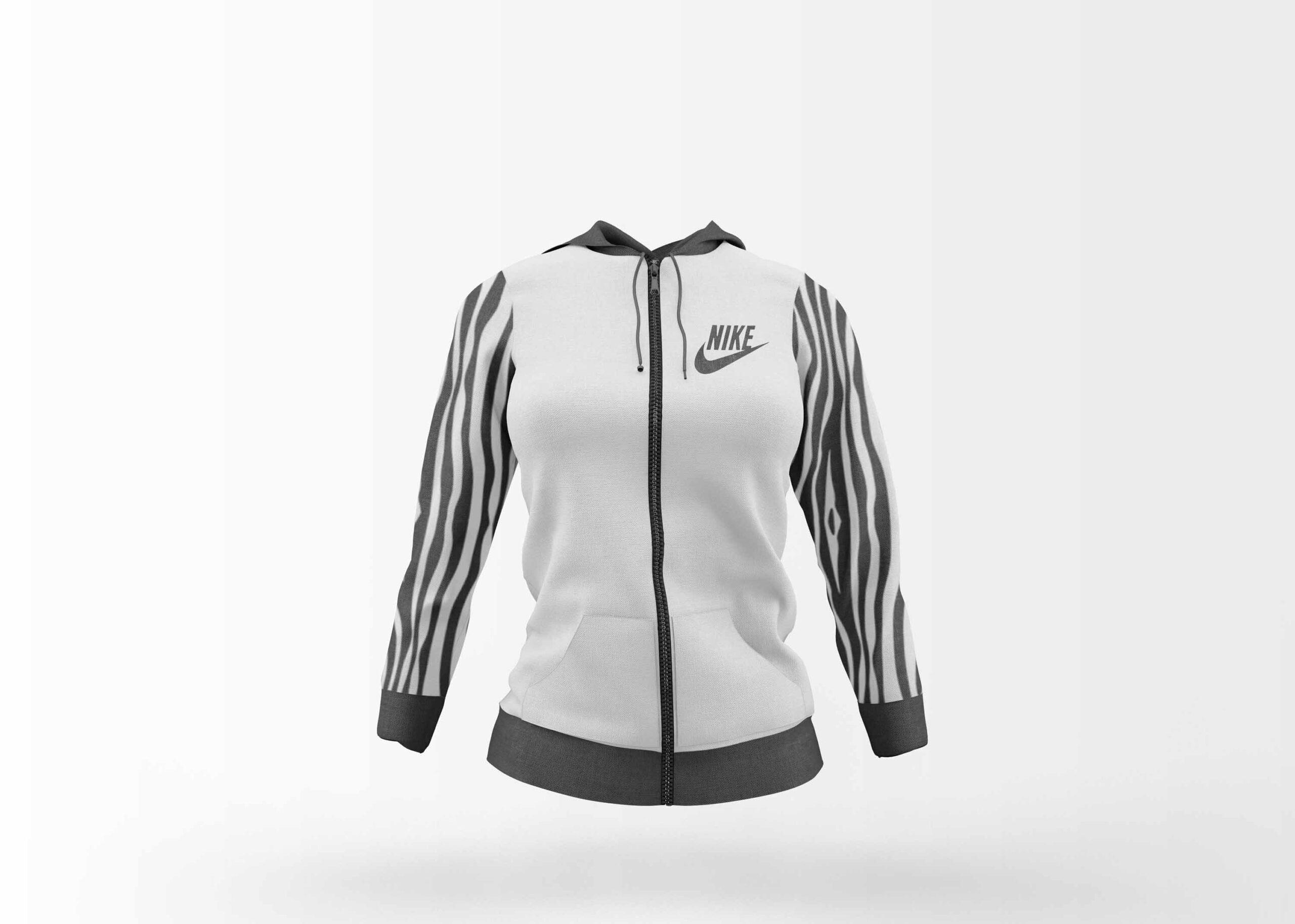 Free White Girl Jacket Design Mockup