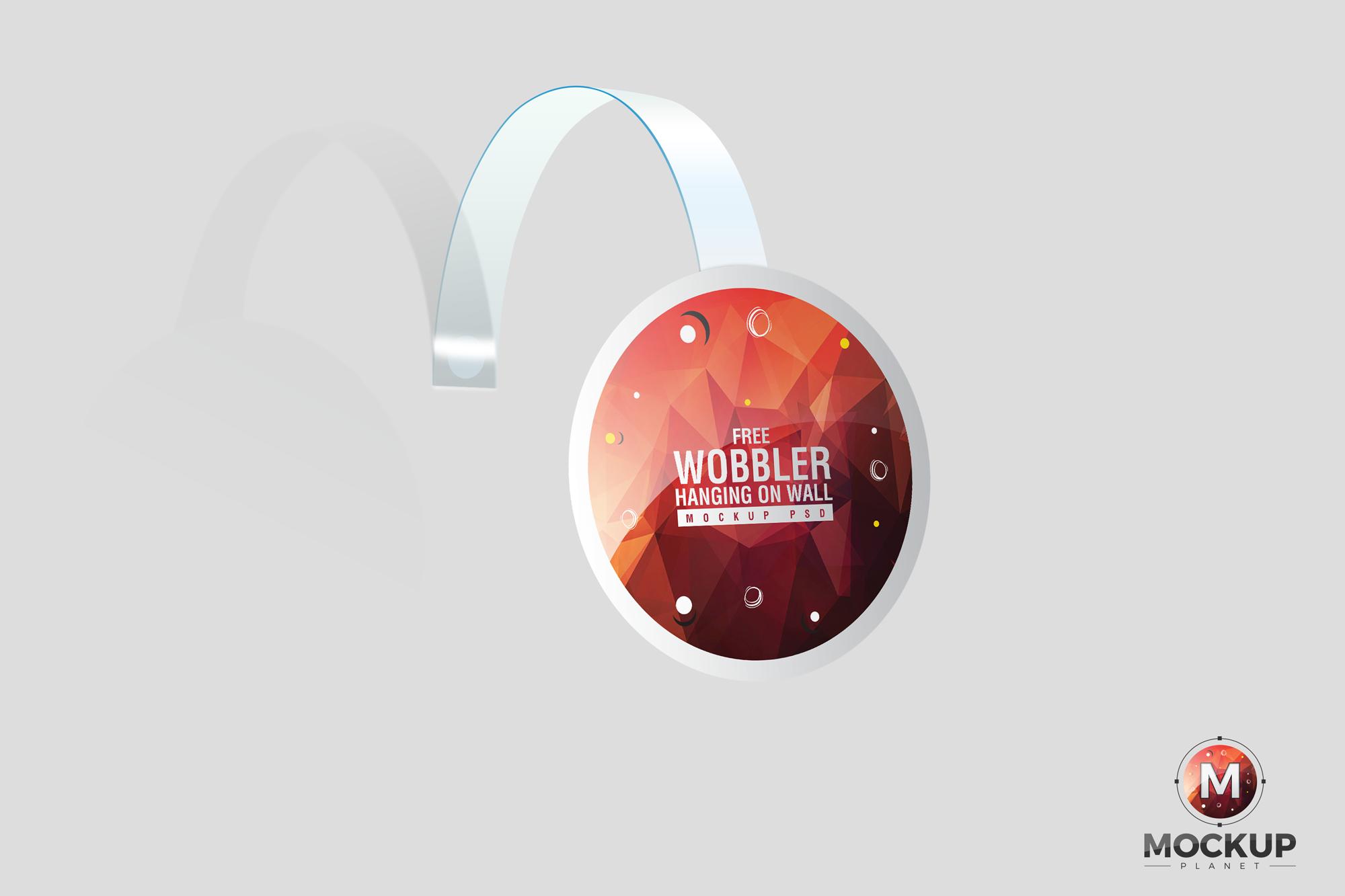 Free Wobbler Hanging on Wall Mockup (PSD)