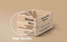 Free Wood Box Packaging Mockup