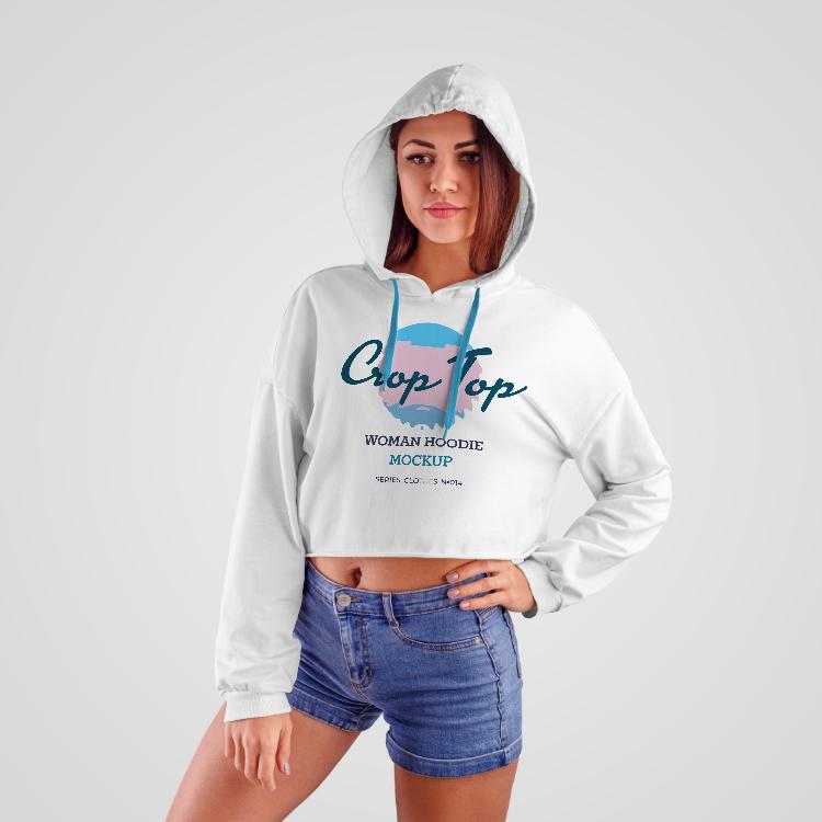 Girl Wearing Crop-Top Hoodie Free Mockup