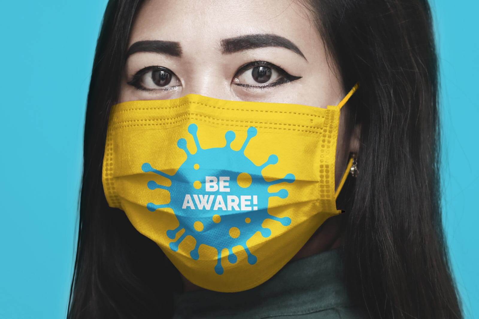 Girl wearing Mask Free Mockup