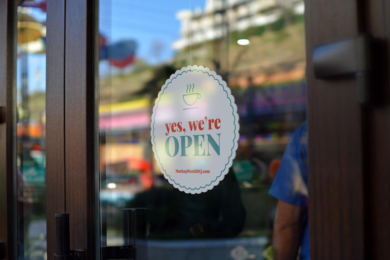 Glass Door Window Signage Free Mockup