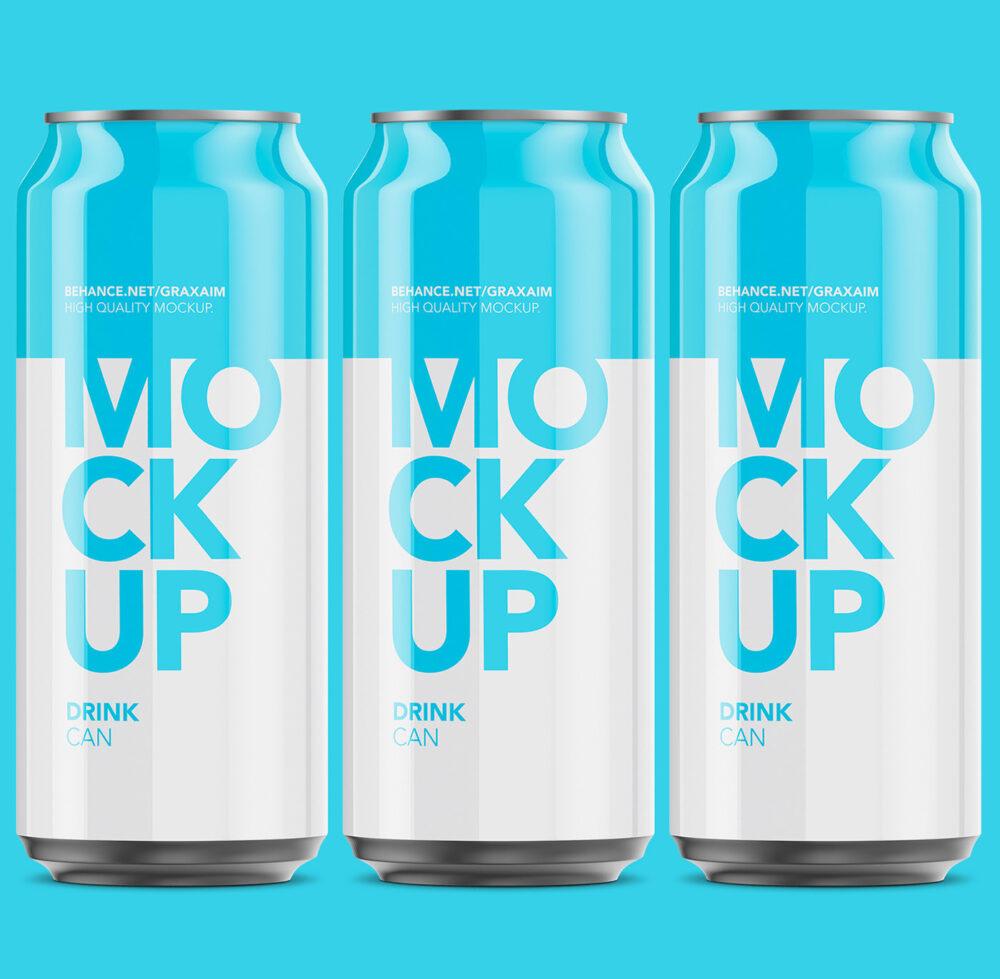 Glossy Aluminum Can Free Mockup
