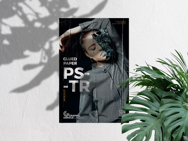 Glued Paper on Concrete Wall Poster Free Mockup