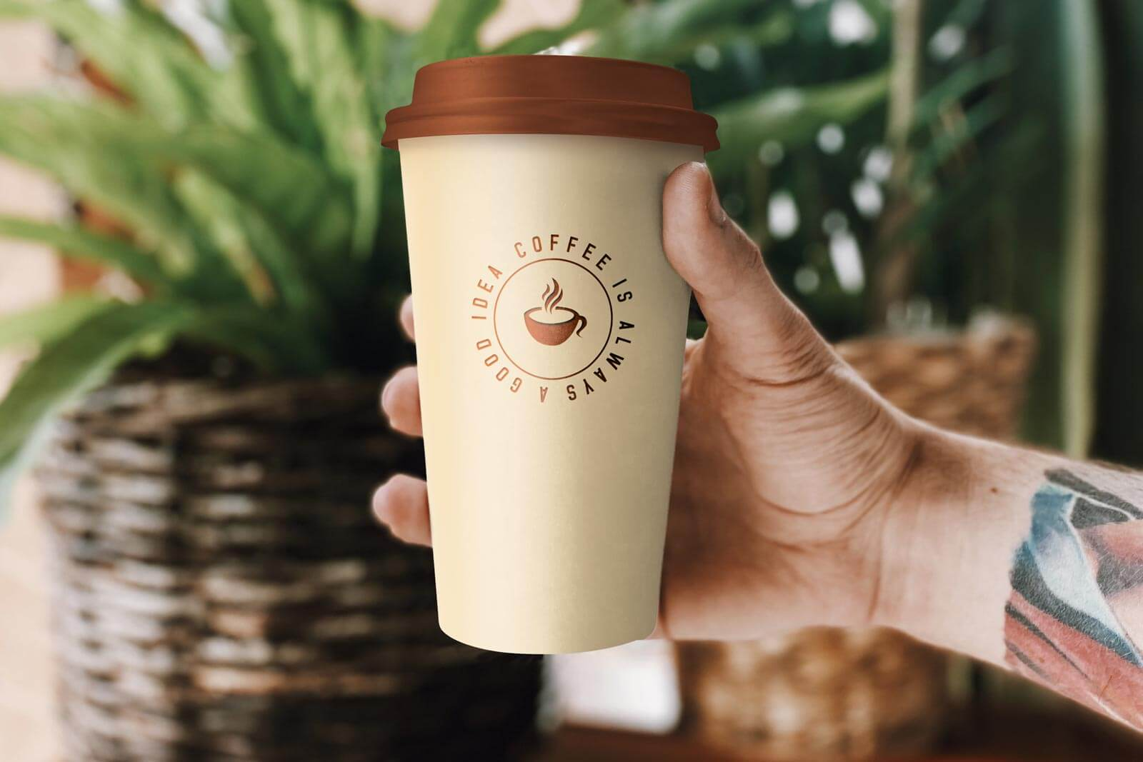 Hand Holding Coffee Cup Free Mockup