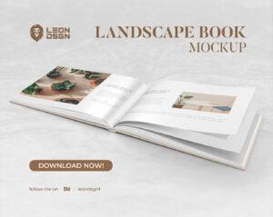 Hardcover Book (Landscape Format) Free Mockup