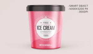 Ice Cream Round Box Free Mockup
