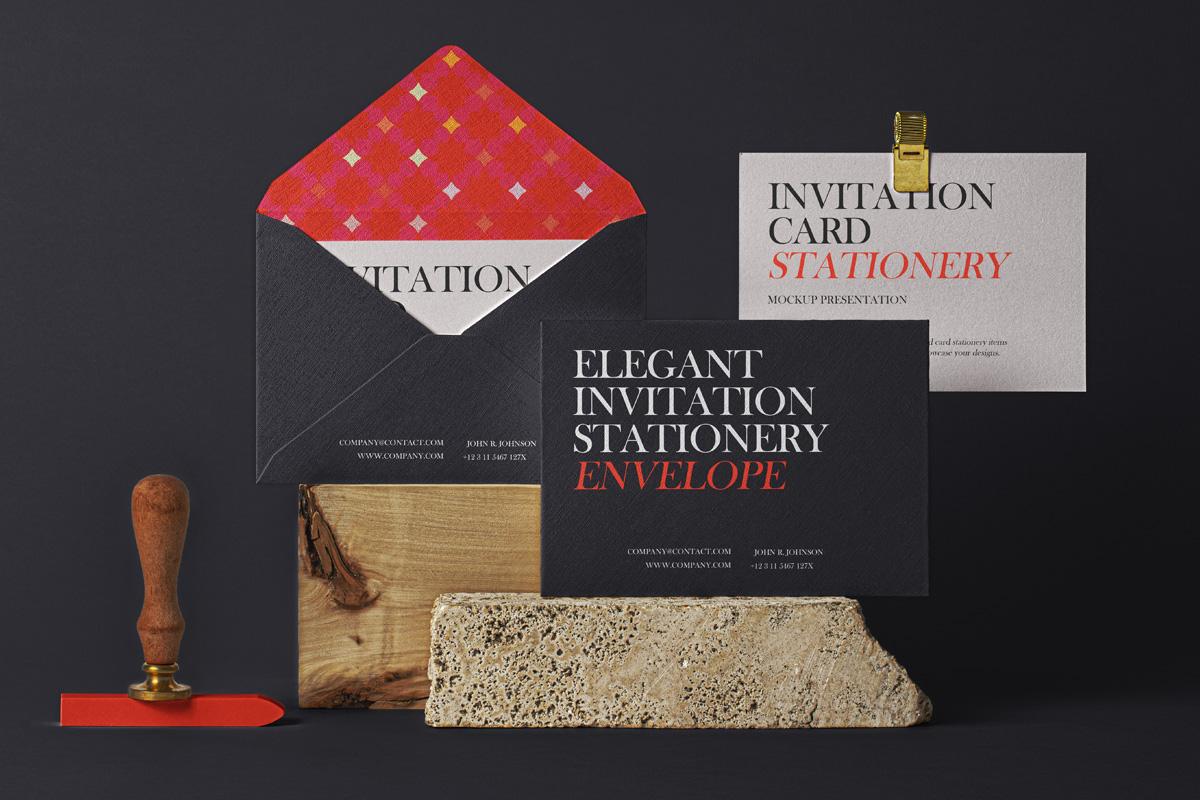 Invitation Card & Envelope Free Mockup