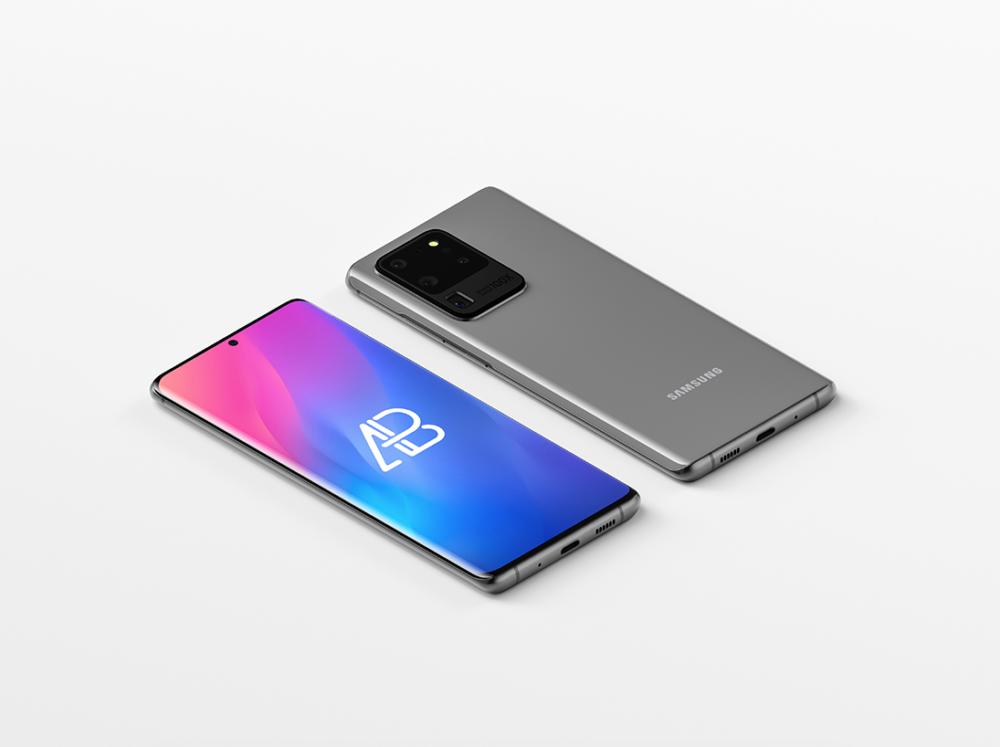 Isometric Samsung Galaxy S20 Free Mockup