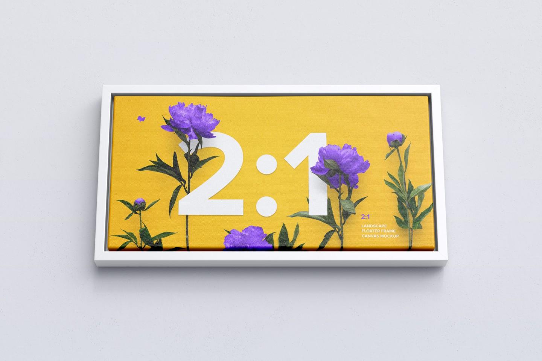 Landscape Canvas in Floater Frame Free Mockup