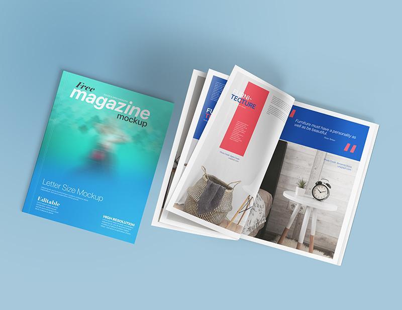 Letter Size Magazine Free Mockup