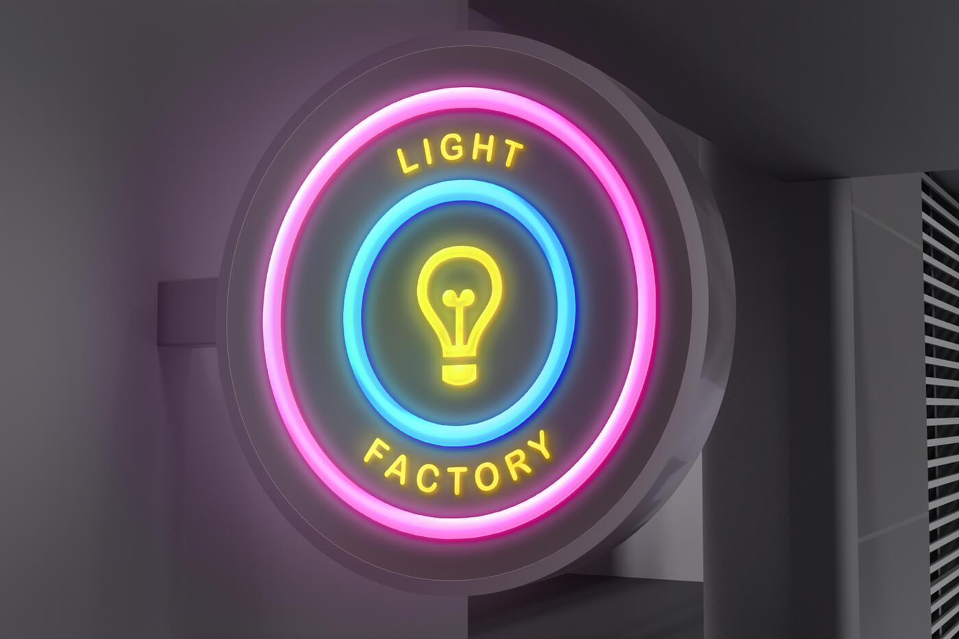 Light Sign Free Mockup