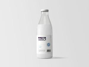 Milk Bottle Free Mockup (PSD)