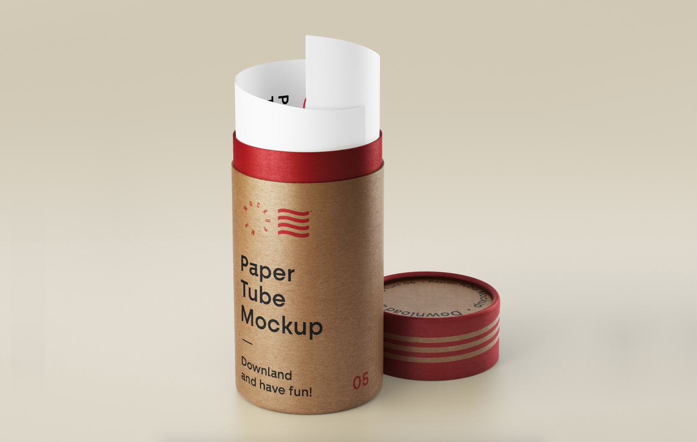 Open Paper Tube Free Mockup