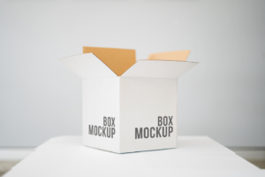 Open Square Box Free Mockup