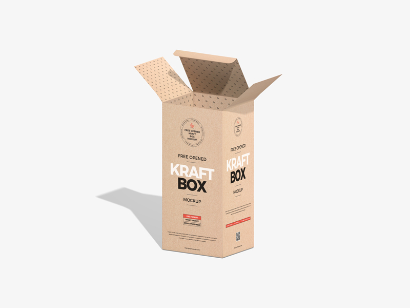 Opened Kraft Box Packaging Free PSD Mockup